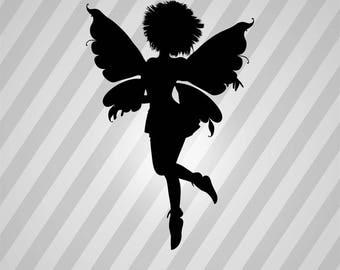 Fairy Silhouette - Svg Dxf Eps Silhouette Rld Rdworks Pdf Png Ai Files Digital Cut Vector File Svg File Cricut Laser Cut