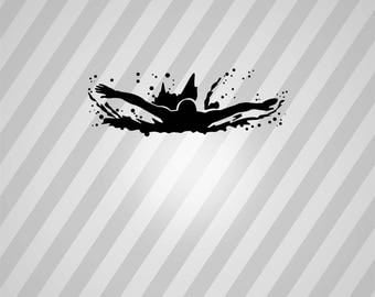 butterfly swimmer Silhouette - Svg Dxf Eps Silhouette Rld RDWorks Pdf Png AI Files Digital Cut Vector File Svg File Cricut Laser Cut
