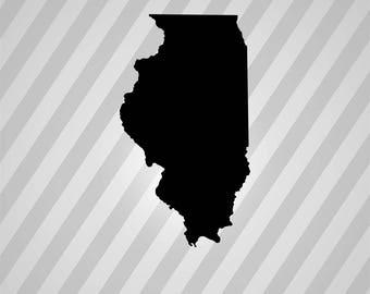 Map Illinois Maps Silhouette - Svg Dxf Eps Silhouette Rld RDWorks Pdf Png AI Files Digital Cut Vector File Svg File Cricut Laser Cut