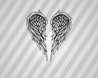 Angel Wings Silhouette -  Svg Dxf Eps Rld Rdworks Pdf Png Ai Files Digital Cut Vector File Svg File Cricut Laser Cut