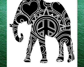 African Elephant Papercut Template Mandala Henna - Svg Paper Cut Templates Stencil Line Art Pdf Cut Files Digital Clip Art Drawing