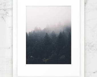 """Mountain and Cloud Photography, Forest Mountain, Misty Forest, Digital Print, 8.5"""" x 11"""" letter size"""