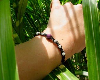 Violet Macrame Bracelet-Adjustable Macreme Bracelet- Wax Cord Bracelet- Purple bead-Beaded Bracelet
