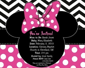 Minnie Mouse Baby Shower Invitation, Minnie Mouse Invitation, Minnie Mouse shower, Minnie Mouse party, girl baby shower, girl Minnie Shower