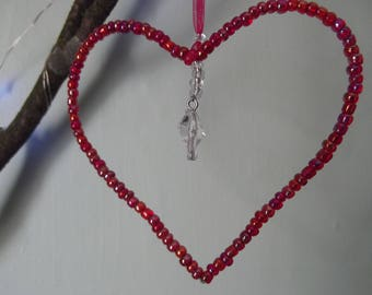 Heart sun catcher red and clear