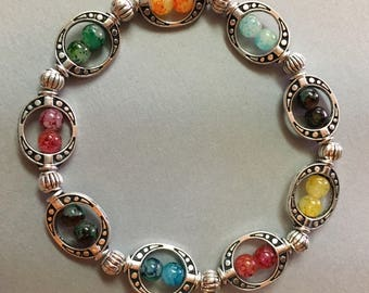 Colorful and unique/box charm/ glass beads