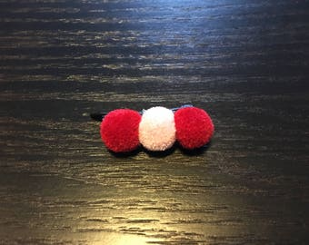 Fluffy red & pink barrette