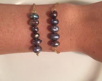 Freshwater blue pearl bracelet