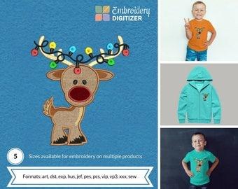 Cute Rein Deer baby Applique Embroidery Design