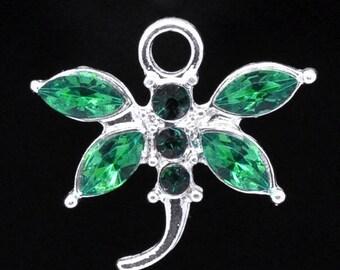1 green 20 * 19 mm rhinestone Dragonfly charm