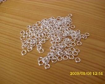 set of 10 grams 3x0.7 mm silver rings