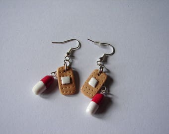 earrings for dressing and capsule with polymer clay nurse