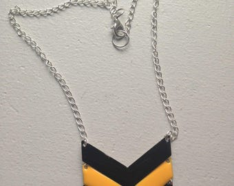 Black and yellow chevron triangle necklace