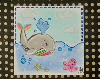 Whale card handmade colorful painting