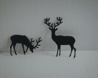 Couple cutting black deer for scrapbooking and card (2.5 and 4 cm height)