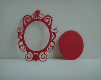 Cut out frame mirror in red design for scrapbooking and card paper
