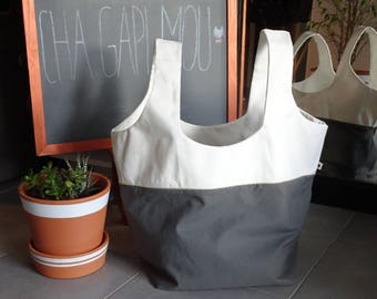 Gray, white and gold tote bag