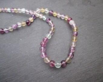 Fluorite - 15 round beads matte 6 mm in diameter