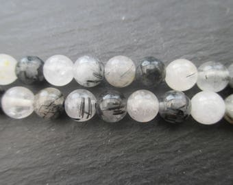 Black rutilated quartz: 10 round beads 6 mm in diameter