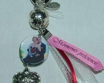 Wedding: Wedbibi door key in metal Ribbon beads and photo