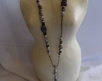 Necklace silver shade, ceramic beads and glass beads.