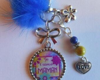 """Bag charm, door keys/MOM / """"I love you MOM"""" / gift/mothers day / thanks/Christmas/birthday"""