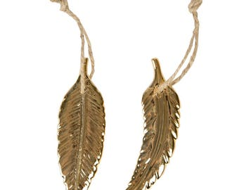 Gilt porcelain feather