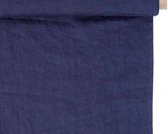 Linen, washed, indigo, 230g, clothing and decor