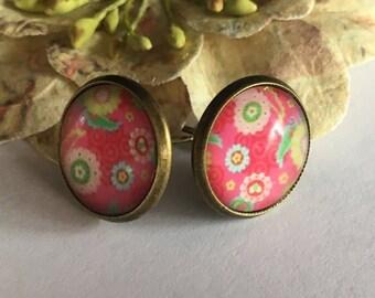 A Flower Pink chip earrings