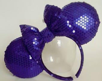 Purple Mickey Sequin Ears
