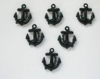 LOT 6 plastic MOTIFS: tall black anchor 21mm