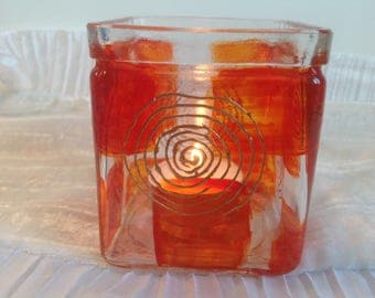 Clear glass candle decor seventies orange and gold hand painted