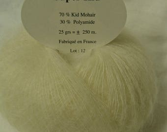 Knitting wool ball / 10 skeins of super kid mohair /ecru/ made in France