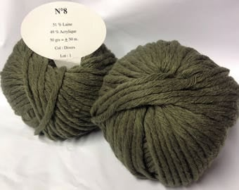 10 balls of chunky wool / gentle / khaki / made in France