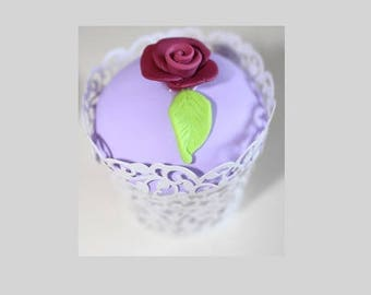 Cup cake dome smooth lilac, Burgundy rose, lace mold