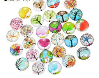 Tree of life 14 mm glass cabochons