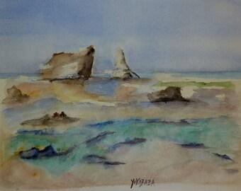 watercolor landscape in Egypt