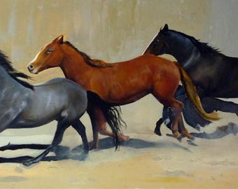 painting has oil of three horses who trot