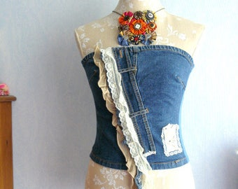 Camisole in denim corset effect shabby romantic, lace, bird applique