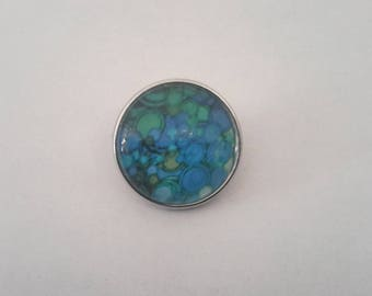 snap button 18mm abstract patterned blue and green glass Cabochon.