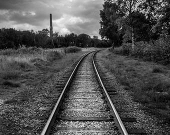 Train Track,Fine Art, Black and Whit Print, Landscape