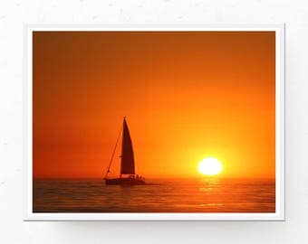 Sunset Print - Sailboat Print, Sailboat Download, Orange Decor, Nautical Decor, Sailboat Printable, Sunset Art, Sailboat Poster Sailboat Art