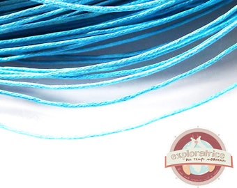 10 meters of turquoise cyan blue waxed cotton cord 1 mm