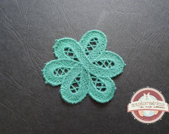 applique badge sewing 57mm blue lace flower
