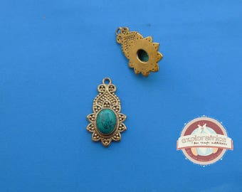 Indian ethnic pendant, gold and turquoise 15x27MM