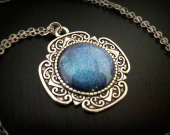 Glittery blue Galaxy blue 20mm painted glass cabochon necklace