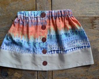 Multicolor girl gathered skirt