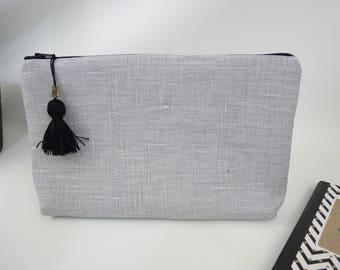 /Trousse grey linen, black makeup bag