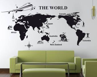 World Map Wall Sticker, World Map Wall Decal Decor, World Map Wall Sticker  Removable Part 84