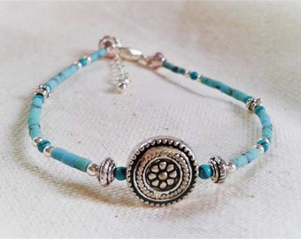 Ethnic bracelet Turquoise Silver stones